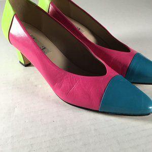 Vintage 1980s Color Block Heels